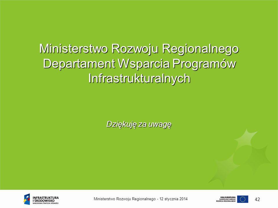 Ministerstwo Rozwoju Regionalnego Departament Wsparcia Programów Infrastrukturalnych
