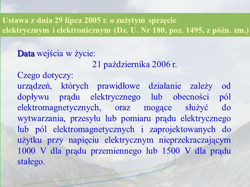 Data wejścia w życie: 21 października 2006 r. Czego dotyczy: