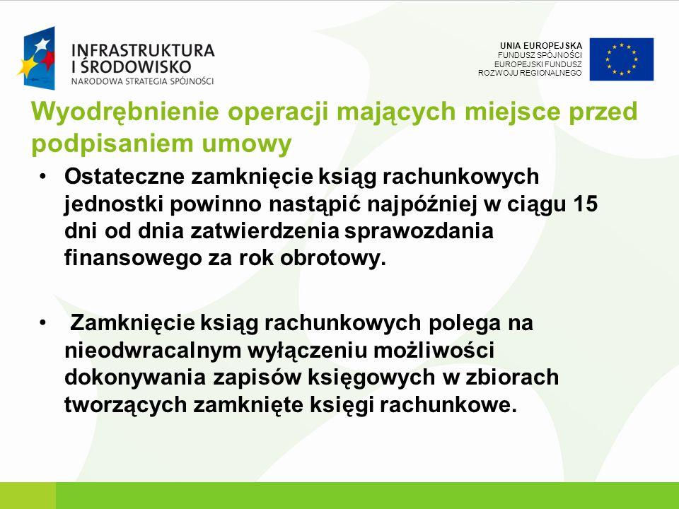 Wyodrębnienie operacji mających miejsce przed podpisaniem umowy