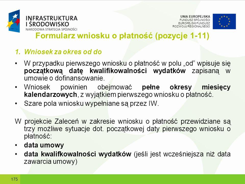 Formularz wniosku o płatność (pozycje 1-11)