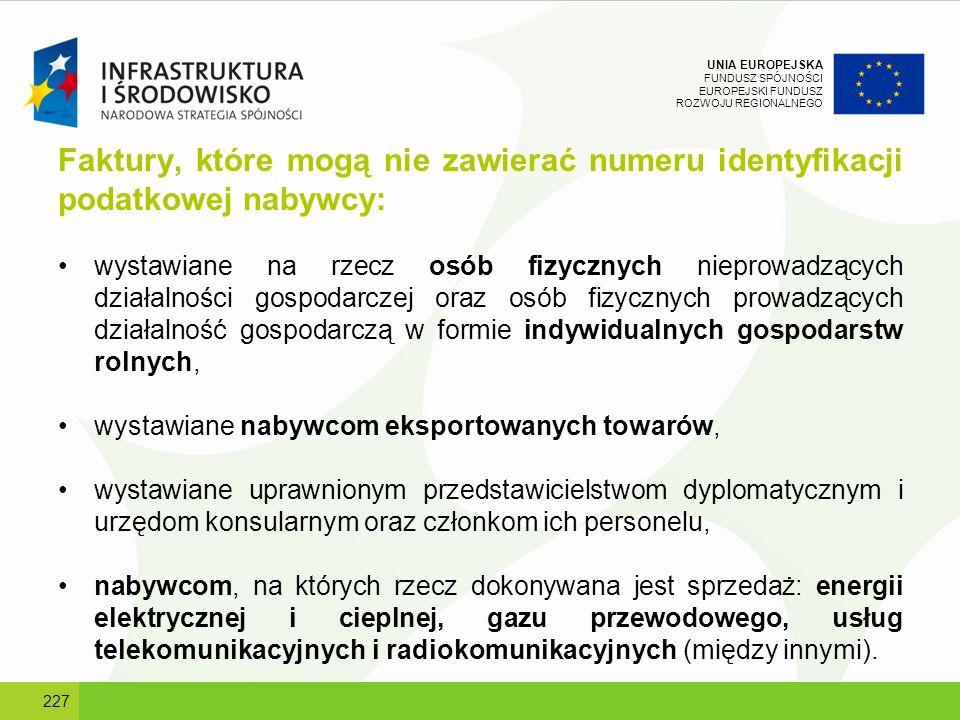Faktury, które mogą nie zawierać numeru identyfikacji podatkowej nabywcy: