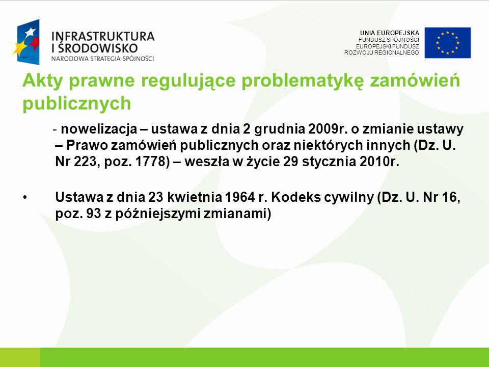 Akty prawne regulujące problematykę zamówień publicznych