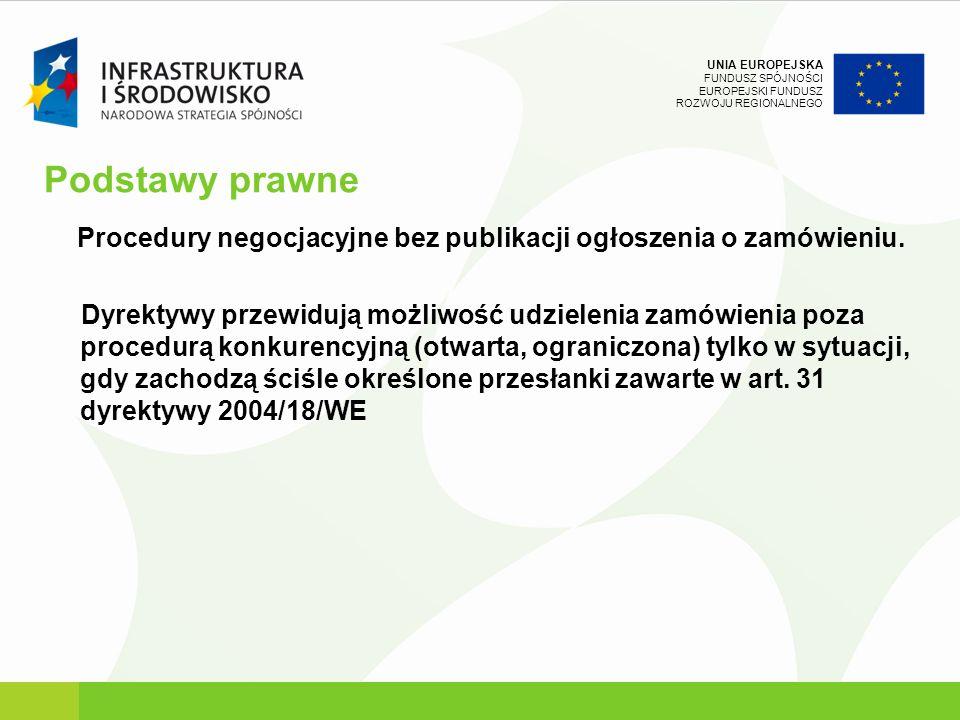 Podstawy prawne Procedury negocjacyjne bez publikacji ogłoszenia o zamówieniu.