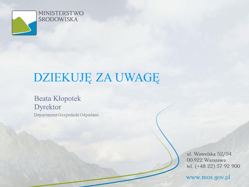 DZIEKUJĘ ZA UWAGĘ Beata Kłopotek Dyrektor