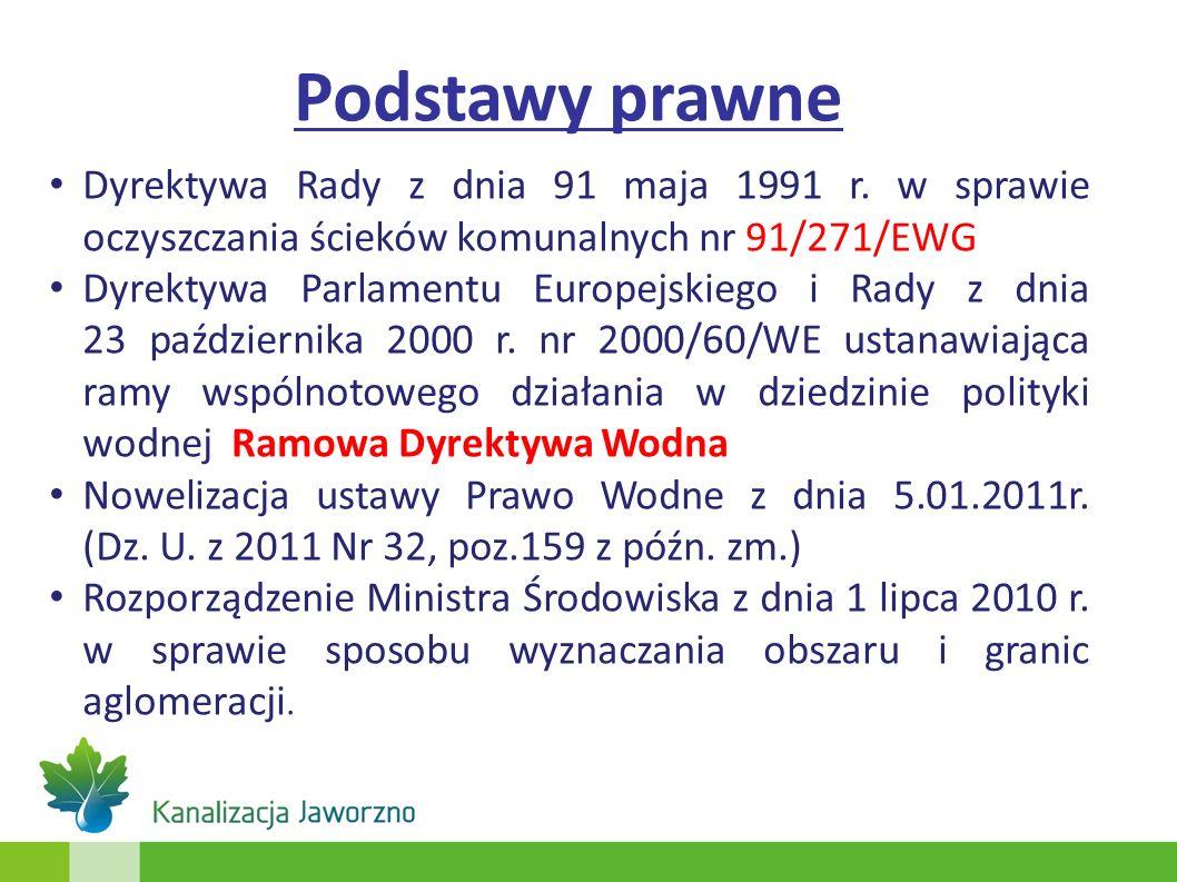 Podstawy prawne Dyrektywa Rady z dnia 91 maja 1991 r. w sprawie oczyszczania ścieków komunalnych nr 91/271/EWG.