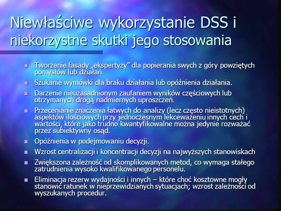 Niewłaściwe wykorzystanie DSS i niekorzystne skutki jego stosowania