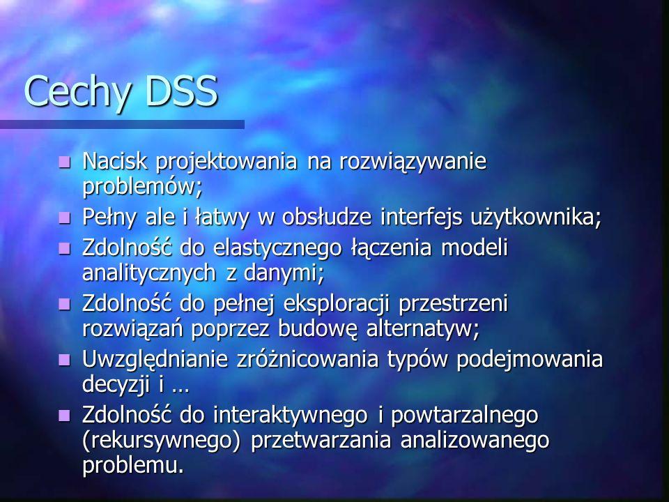 Cechy DSS Nacisk projektowania na rozwiązywanie problemów;