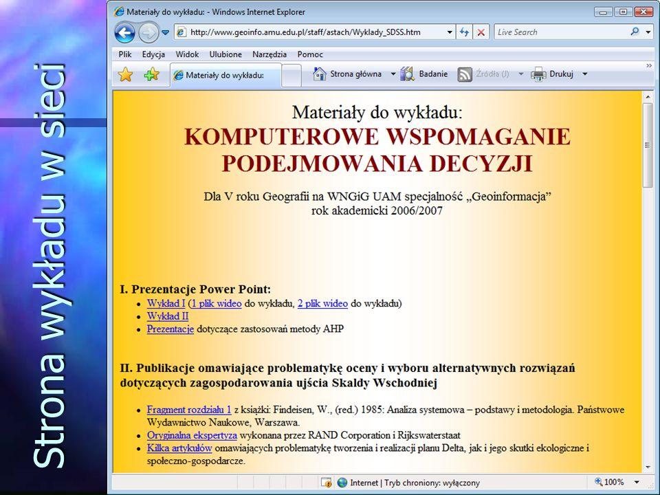 Strona wykładu w sieci