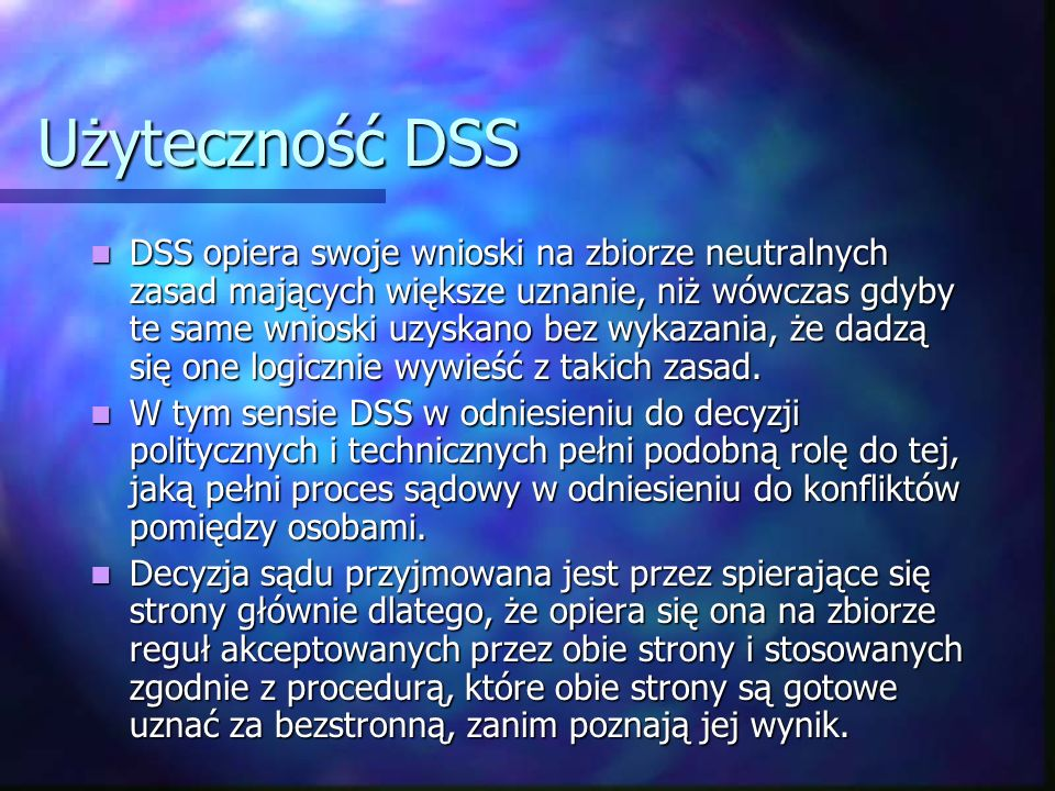 Użyteczność DSS