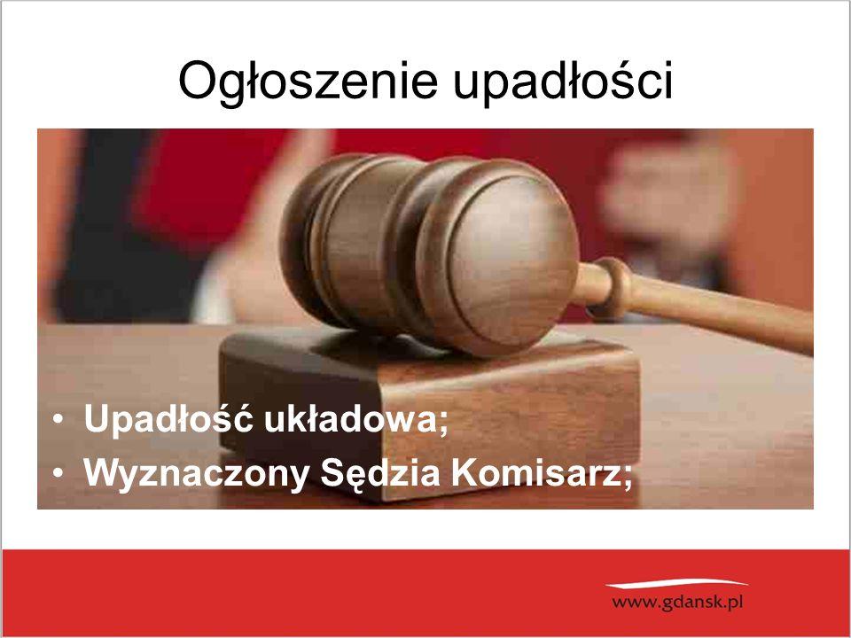Ogłoszenie upadłości Upadłość układowa; Wyznaczony Sędzia Komisarz;