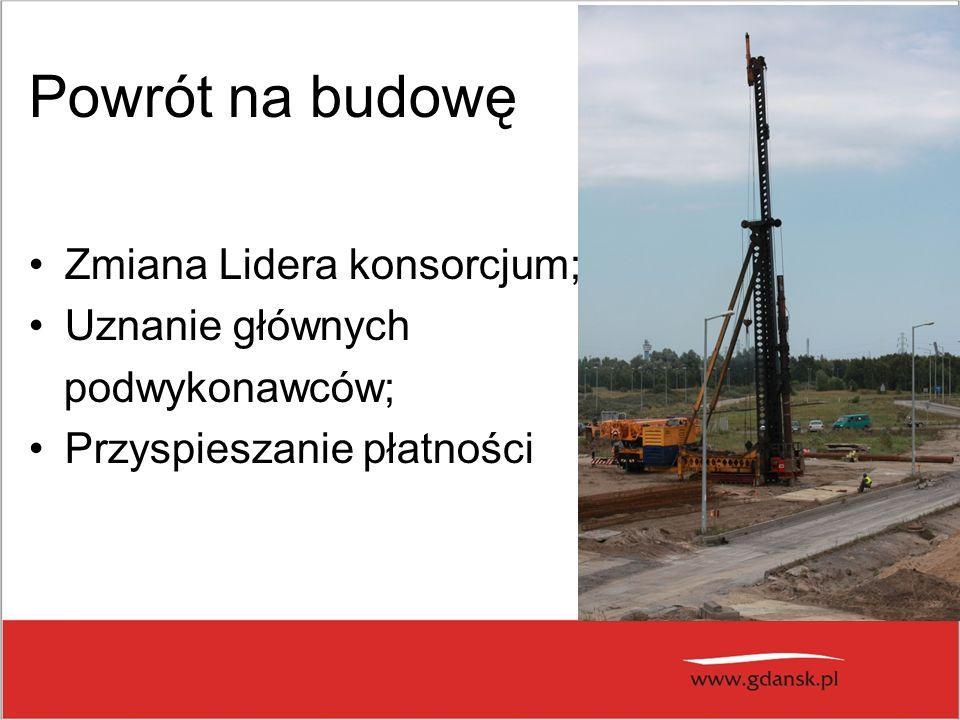 Powrót na budowę Zmiana Lidera konsorcjum; Uznanie głównych