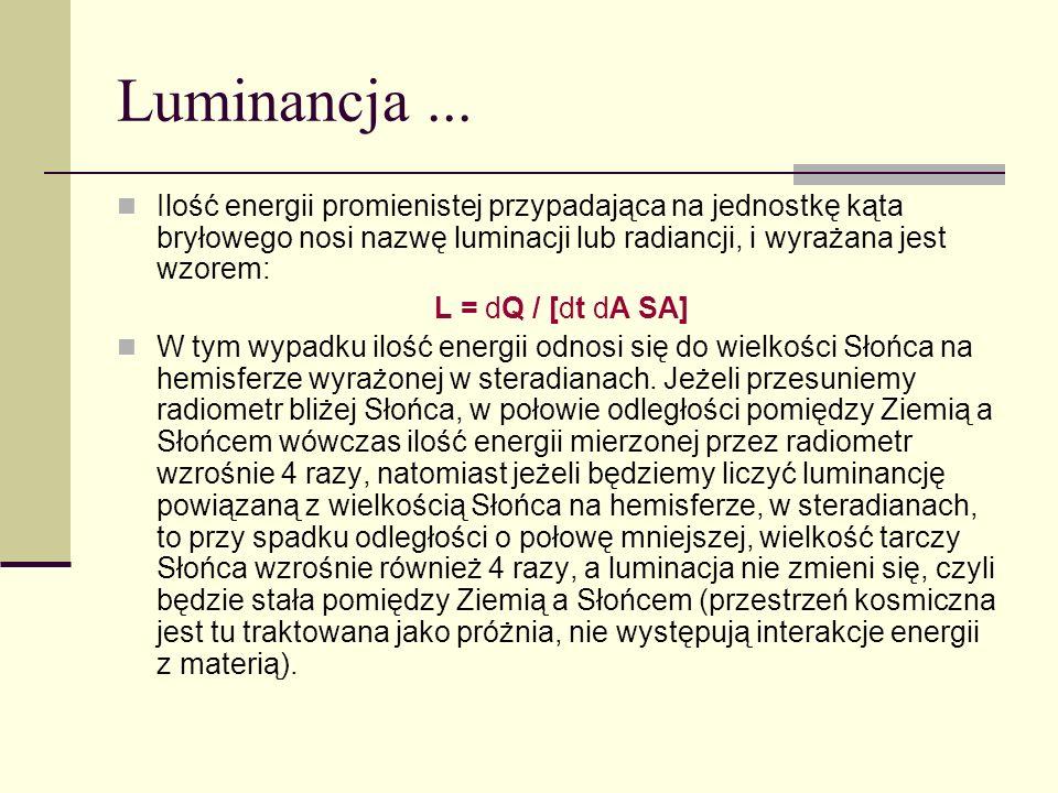 Luminancja ... Ilość energii promienistej przypadająca na jednostkę kąta bryłowego nosi nazwę luminacji lub radiancji, i wyrażana jest wzorem: