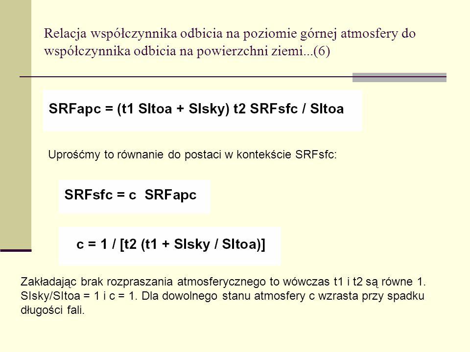 Relacja współczynnika odbicia na poziomie górnej atmosfery do współczynnika odbicia na powierzchni ziemi...(6)