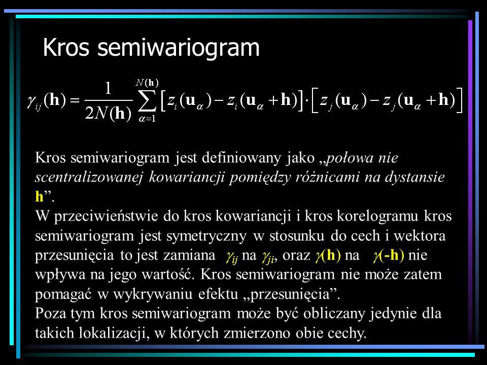 """Kros semiwariogramKros semiwariogram jest definiowany jako """"połowa nie scentralizowanej kowariancji pomiędzy różnicami na dystansie h ."""