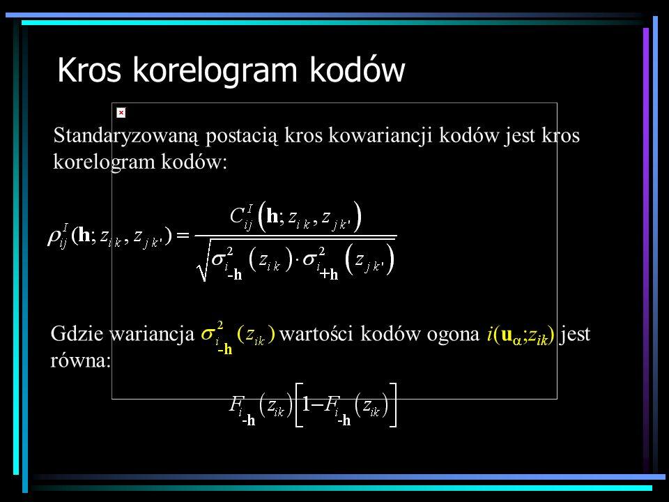 Kros korelogram kodów Standaryzowaną postacią kros kowariancji kodów jest kros korelogram kodów: