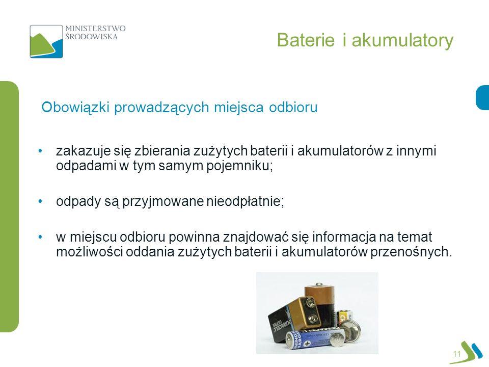 Baterie i akumulatory Obowiązki prowadzących miejsca odbioru