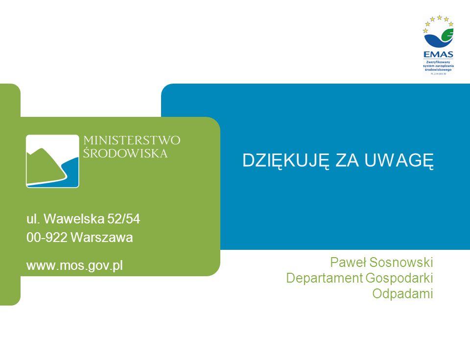 Dziękuję za uwagę ul. Wawelska 52/54 00-922 Warszawa Paweł Sosnowski