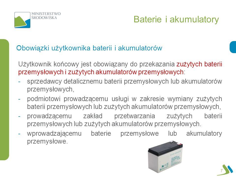 Baterie i akumulatory Obowiązki użytkownika baterii i akumulatorów