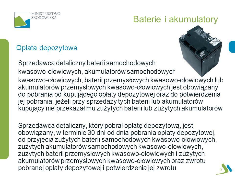 Baterie i akumulatory Opłata depozytowa
