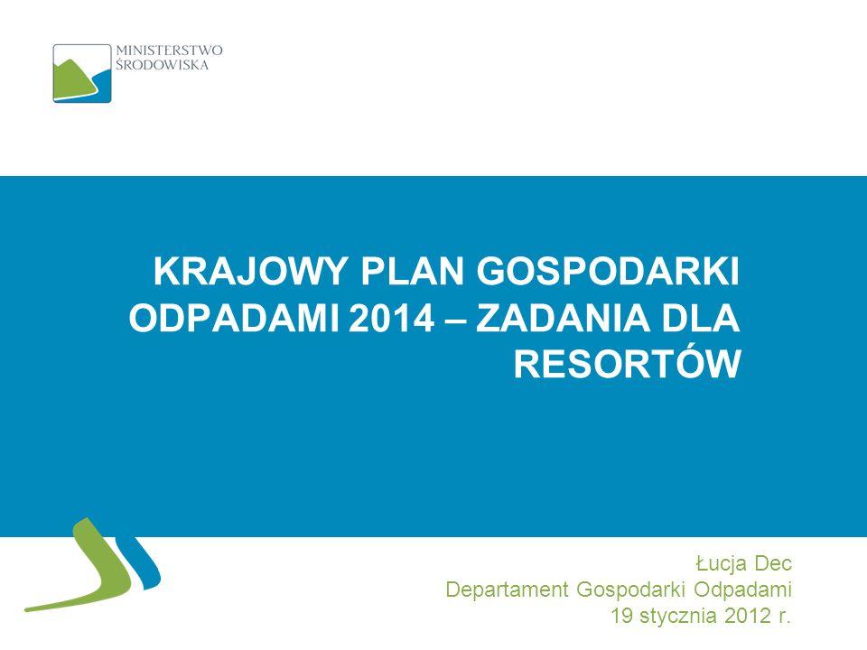 Krajowy plan gospodarki odpadami 2014 – zadania dla resortów