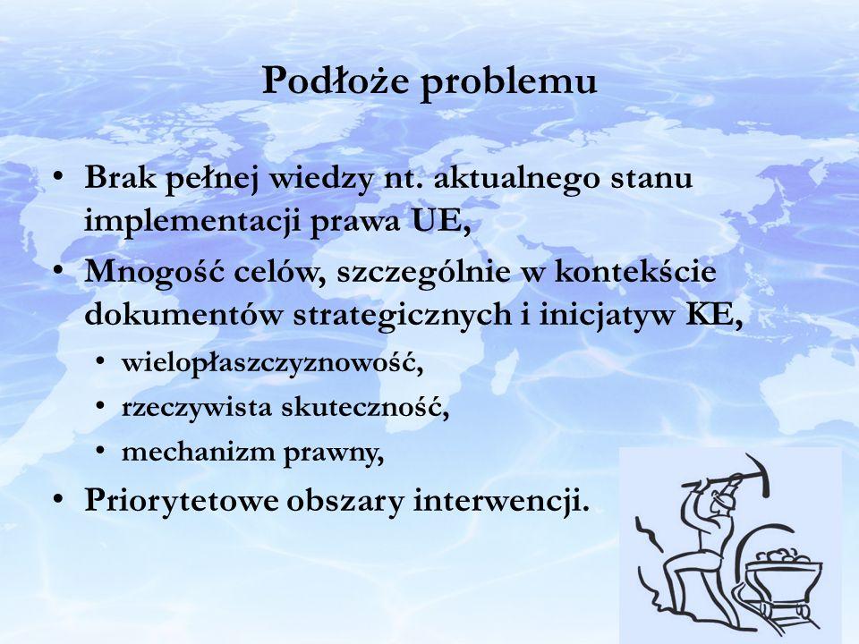 Podłoże problemu Brak pełnej wiedzy nt. aktualnego stanu implementacji prawa UE,