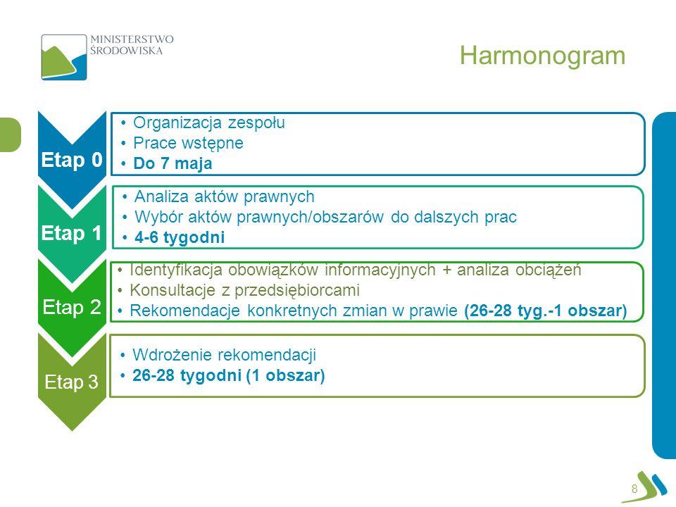 Harmonogram Etap 3 Organizacja zespołu Prace wstępne Do 7 maja