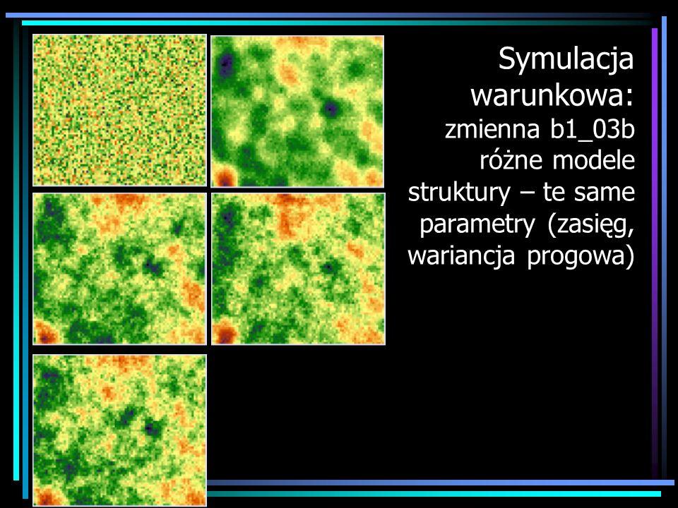 Symulacja warunkowa: zmienna b1_03b różne modele struktury – te same parametry (zasięg, wariancja progowa)