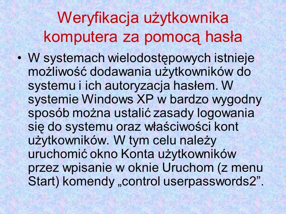 Weryfikacja użytkownika komputera za pomocą hasła