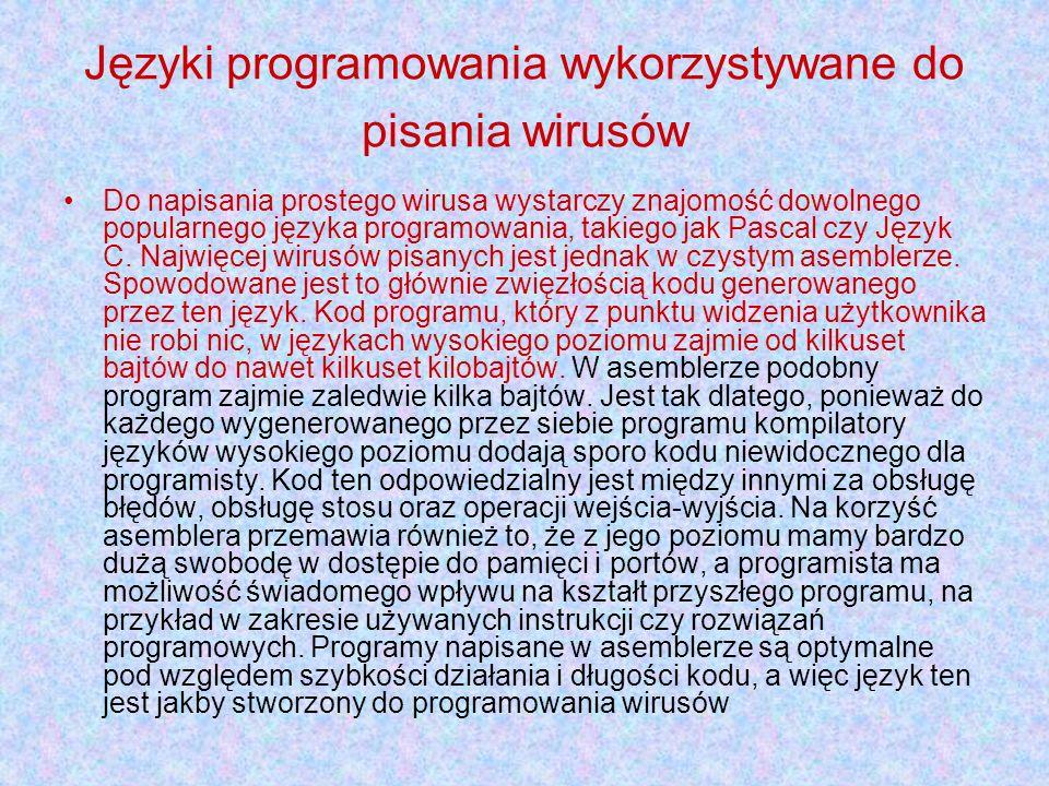 Języki programowania wykorzystywane do pisania wirusów