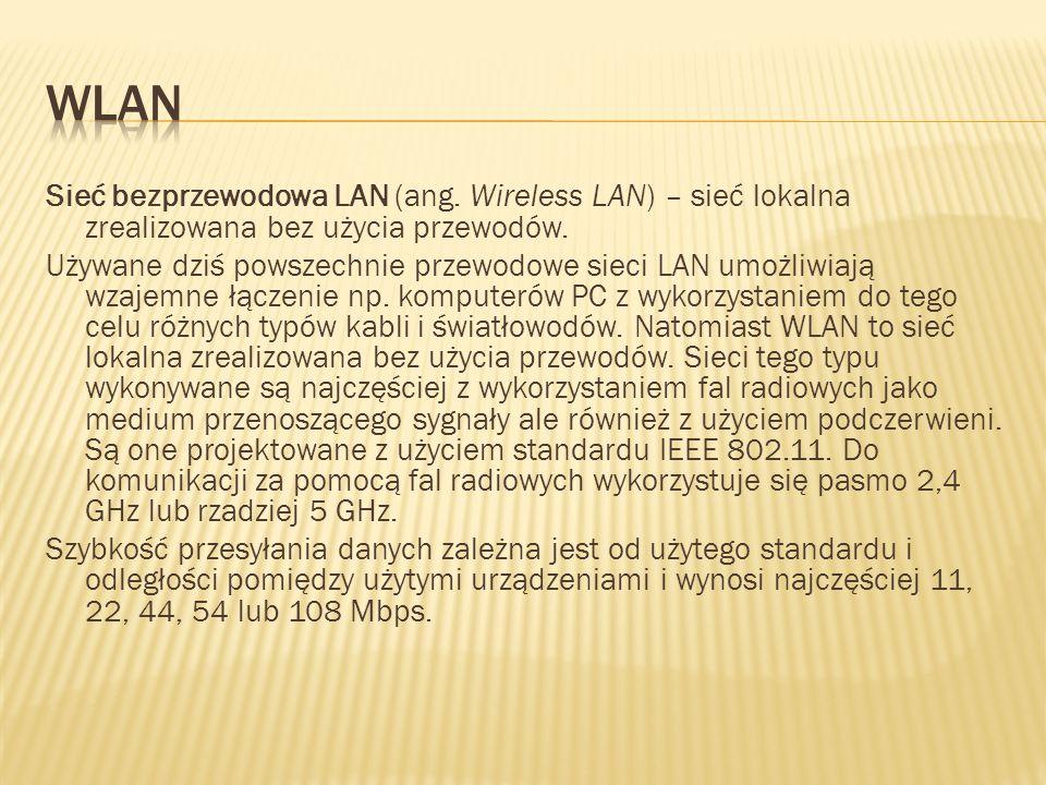 WLAN Sieć bezprzewodowa LAN (ang. Wireless LAN) – sieć lokalna zrealizowana bez użycia przewodów.