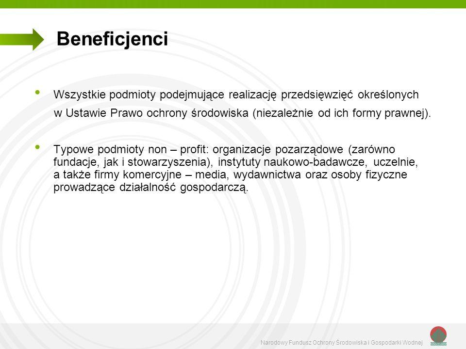 Beneficjenci Wszystkie podmioty podejmujące realizację przedsięwzięć określonych.