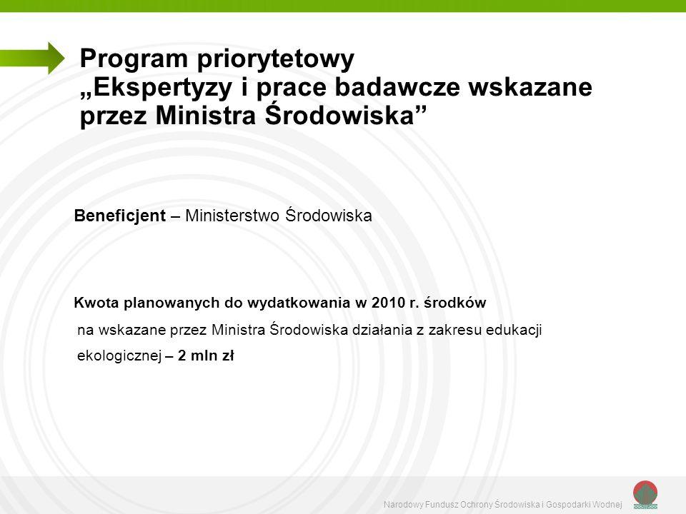 """Program priorytetowy """"Ekspertyzy i prace badawcze wskazane przez Ministra Środowiska"""