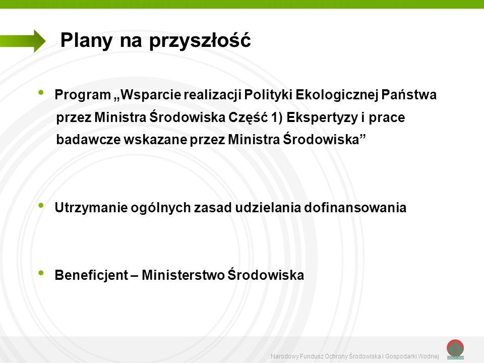 """Plany na przyszłośćProgram """"Wsparcie realizacji Polityki Ekologicznej Państwa. przez Ministra Środowiska Część 1) Ekspertyzy i prace."""