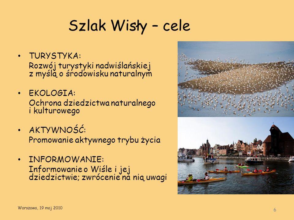Szlak Wisły – cele TURYSTYKA: