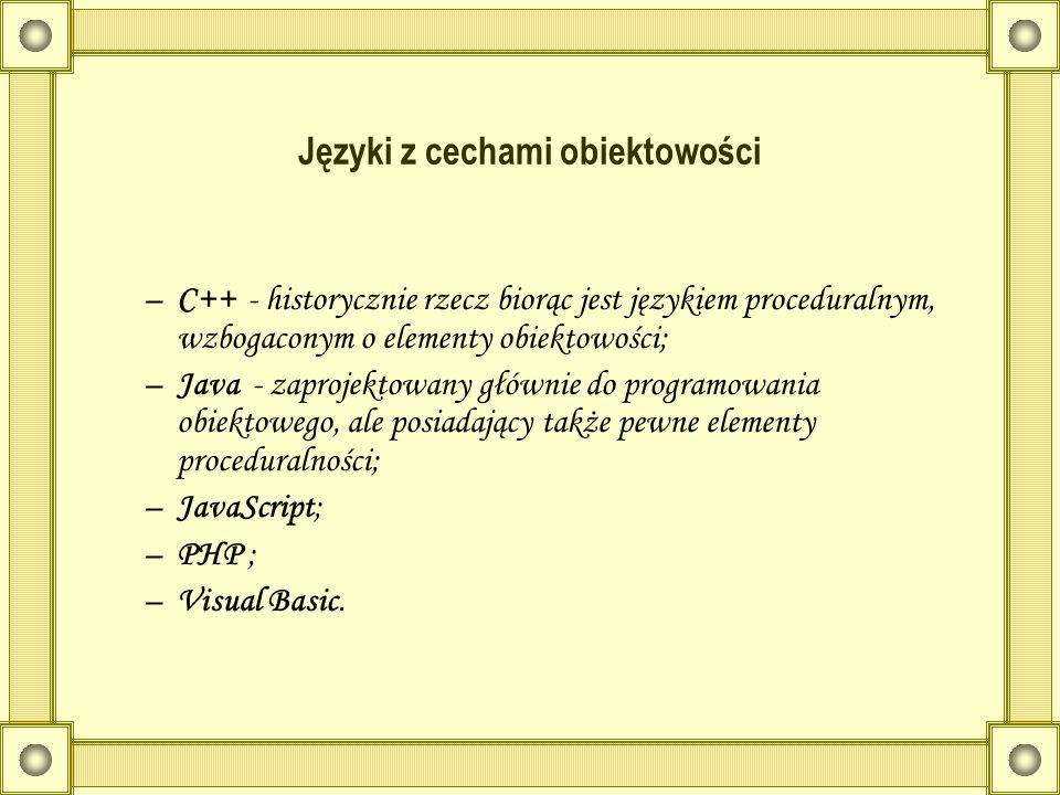Języki z cechami obiektowości