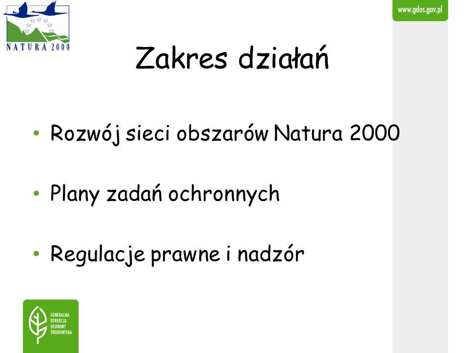 Zakres działań Rozwój sieci obszarów Natura 2000