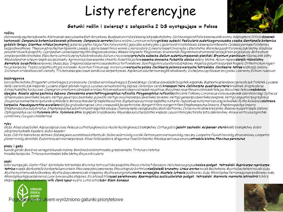 Gatunki roślin i zwierząt z załącznika 2 DS występujące w Polsce