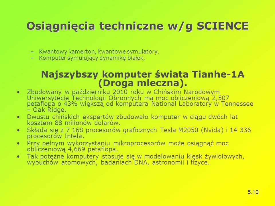 Osiągnięcia techniczne w/g SCIENCE