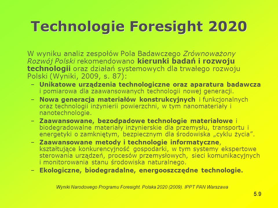 Technologie Foresight 2020