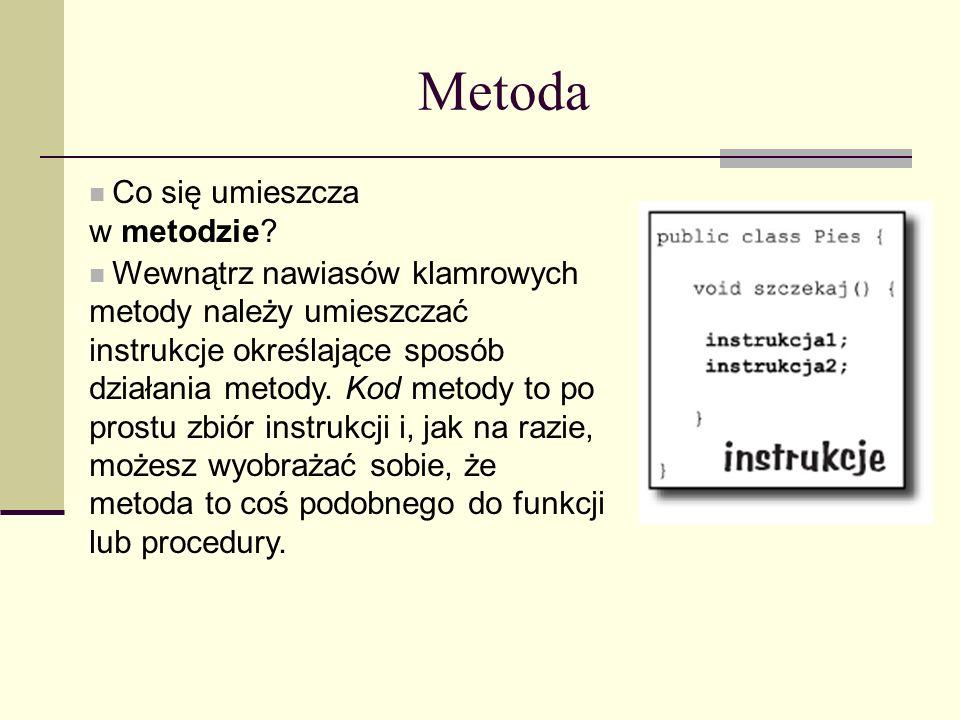 Metoda Co się umieszcza. w metodzie Wewnątrz nawiasów klamrowych.