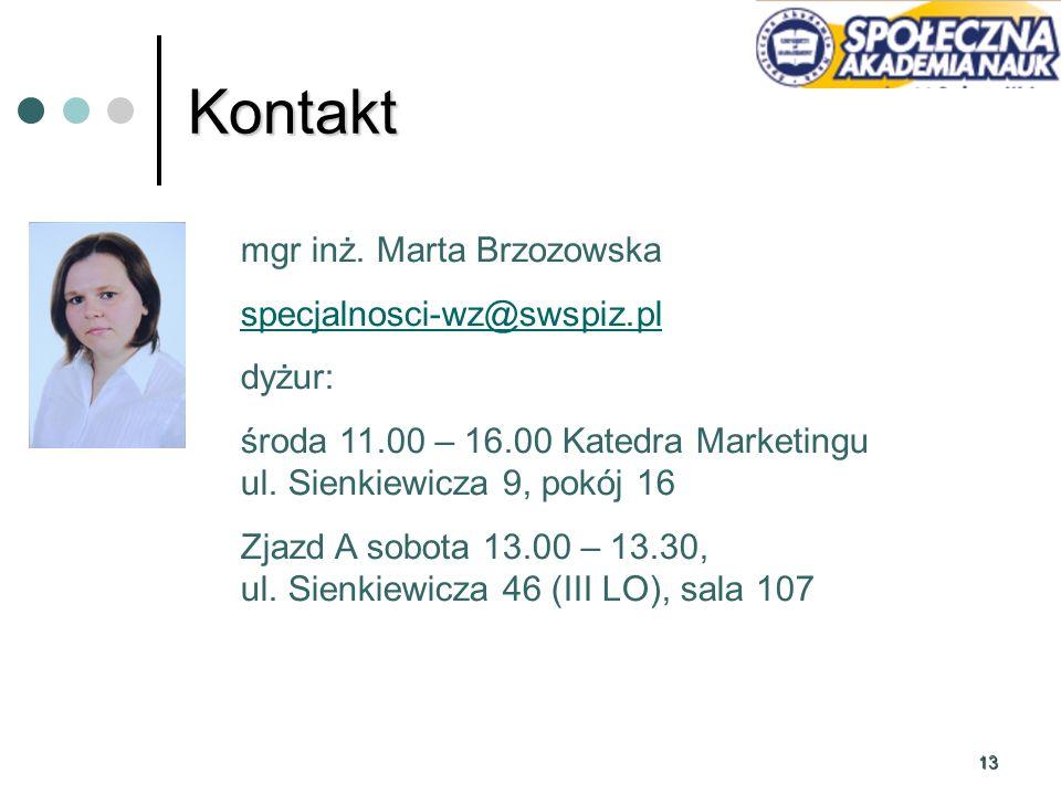 Kontakt mgr inż. Marta Brzozowska specjalnosci-wz@swspiz.pl dyżur: