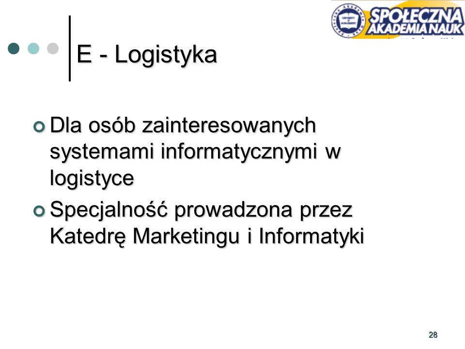 E - Logistyka Dla osób zainteresowanych systemami informatycznymi w logistyce. Specjalność prowadzona przez Katedrę Marketingu i Informatyki.