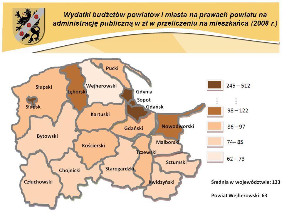 Wydatki budżetów powiatów i miasta na prawach powiatu na administrację publiczną w zł w przeliczeniu na mieszkańca (2008 r.)