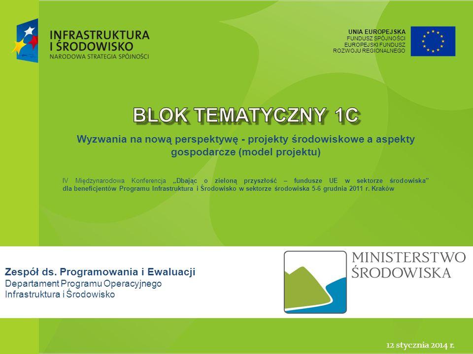 Blok tematyczny 1c Wyzwania na nową perspektywę - projekty środowiskowe a aspekty gospodarcze (model projektu)