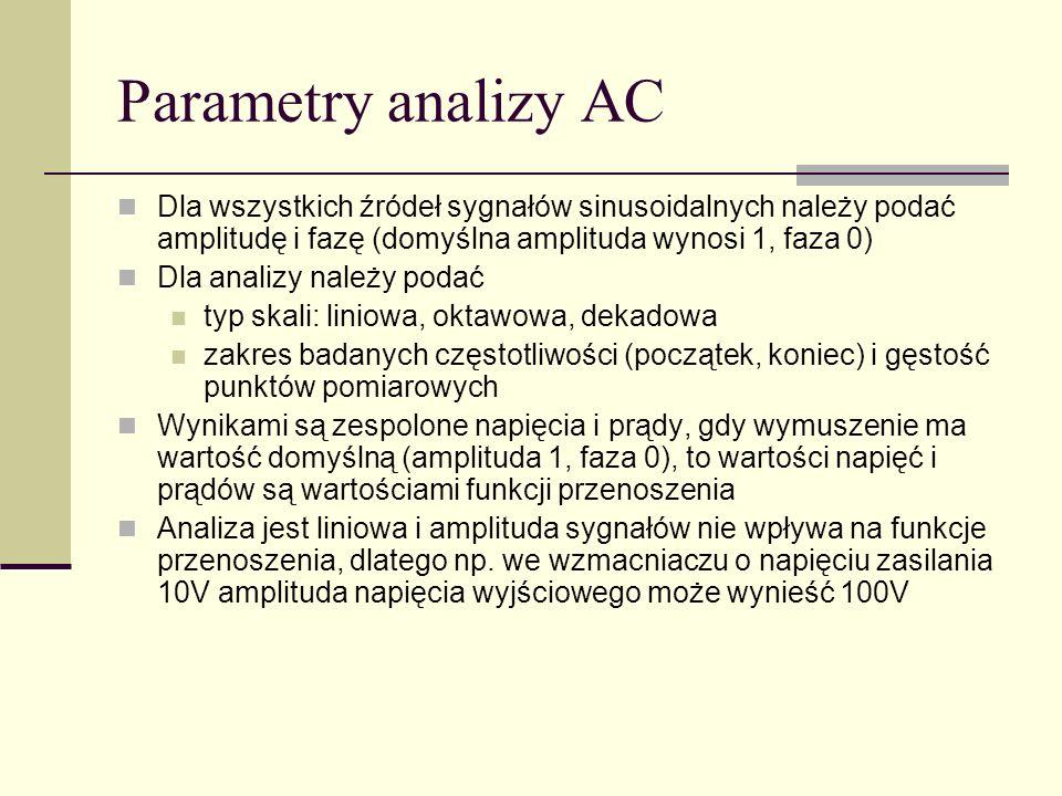 Parametry analizy AC Dla wszystkich źródeł sygnałów sinusoidalnych należy podać amplitudę i fazę (domyślna amplituda wynosi 1, faza 0)