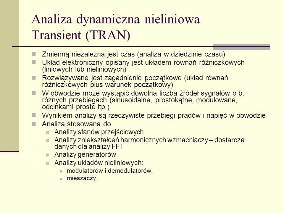 Analiza dynamiczna nieliniowa Transient (TRAN)