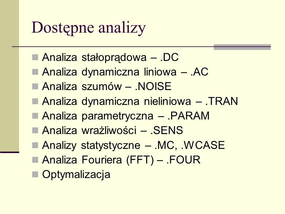 Dostępne analizy Analiza stałoprądowa – .DC