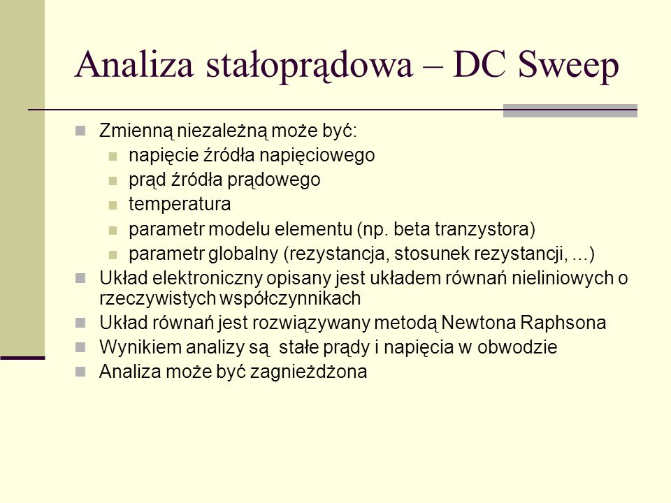 Analiza stałoprądowa – DC Sweep