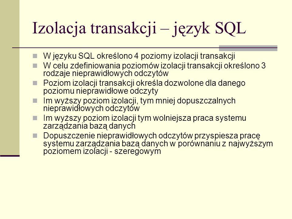 Izolacja transakcji – język SQL