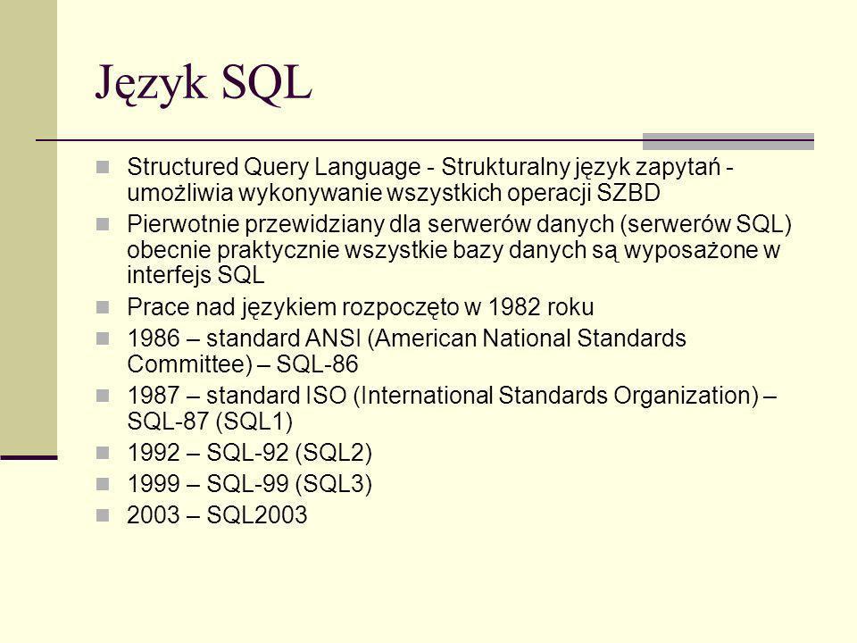 Język SQL Structured Query Language - Strukturalny język zapytań - umożliwia wykonywanie wszystkich operacji SZBD.